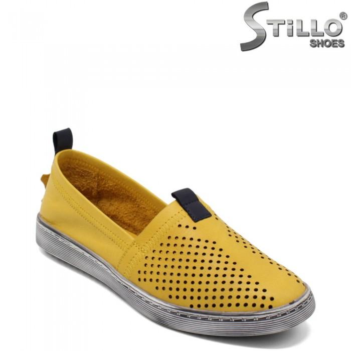 Pantofi dama de vara cu gauri de culoare mustard - 32695