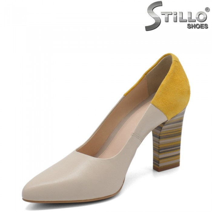 Pantofi dama moderni din piele naturala cu toc inalt - 32699