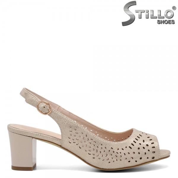 Sandale dama cu toc de culoare auriu - 32712