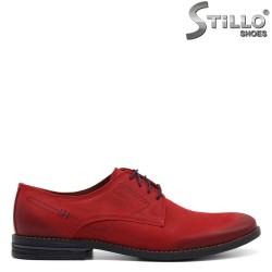 Pantofi barbati din nubuc naturala de culoare rosu - 32724