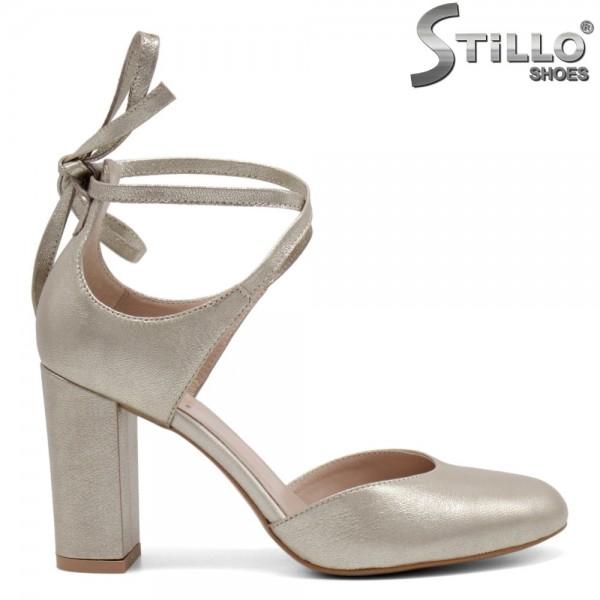 Pantofi aurii cu sireturi la glezna - 32744