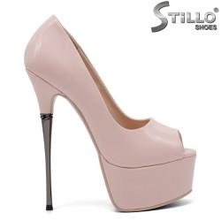 Pantofi dama eleganti cu toc inalt metalic - 32849