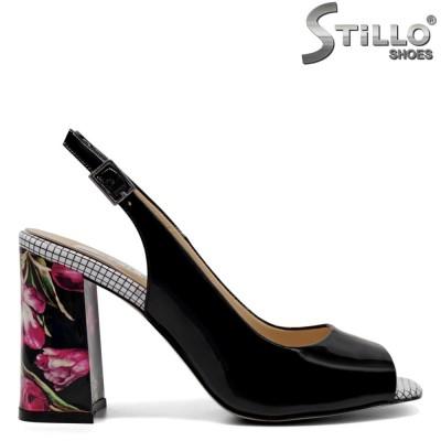 Sandale dama cu toc inalt floral - 32883