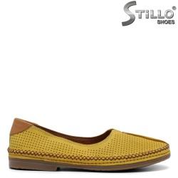 Pantofi dama din piele naturala cu perforatie - 32884