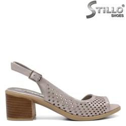Sandale dama cu toc din piele naturala - 32887