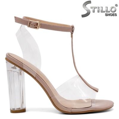 Sandale dama moderne din silicon cu toc transparent - 32912