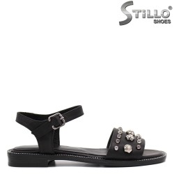 Sandale dama din piele naturala cu toc jos - 33033