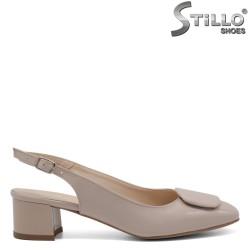 Pantofi de damă de vară bej cu toc - 33054