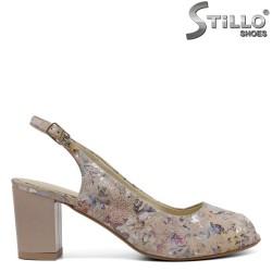Sandale dama de culoare bej cu desen flori - 33056