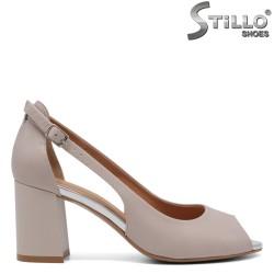 Pantofi dama din piele naturala cu partea din fata decupata - 33057