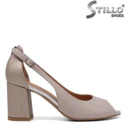 Pantofi dama de vara de culoare bej auriu cu toc - 33063