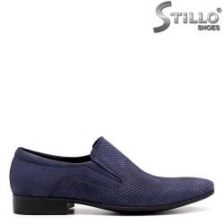 Pantofi de bărbat din nabuc albastru - 33065