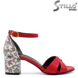 Sandale dama de culoare rosi cu desen floral - 33076
