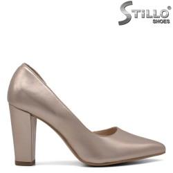 Pantofi dama auriu cu toc inalt din piele naturala - 33082