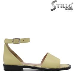 Sandale dama din piele naturala de culoare galben - 33094