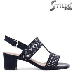 Sandale dama din velur de culoare albastru cu capse - 33106