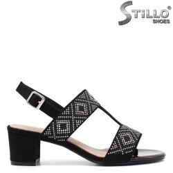 Sandale dama din velur cu capse - 33107