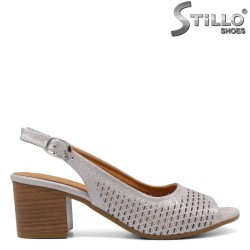 Sandale dama de culoare gri perlat cu toc - 33108