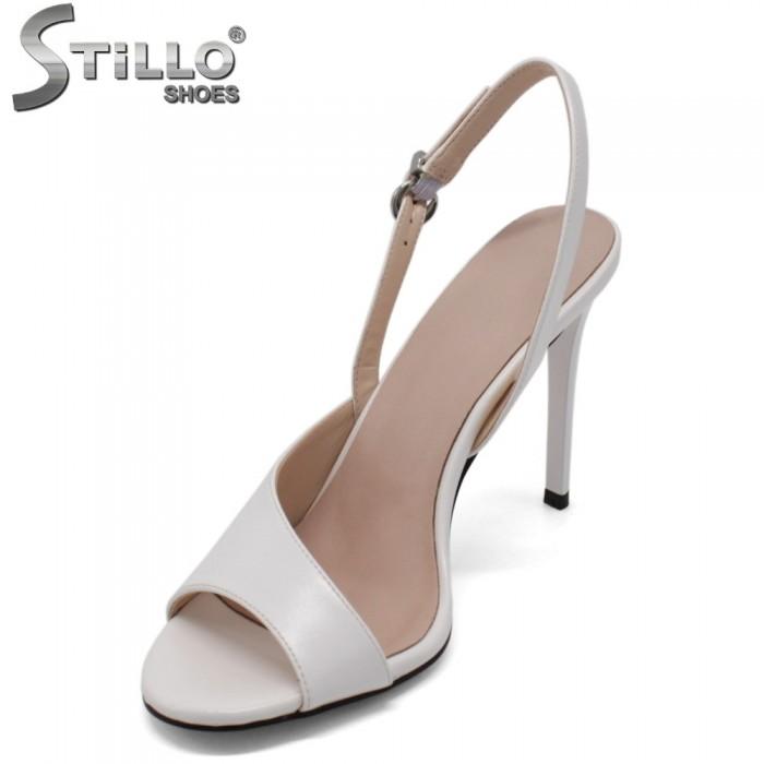Sandale dama elegante  de culoare alb cu toc inalt - 33113