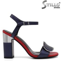 Sandale dama de culoare albastru rosu cu toc inalt - 33117