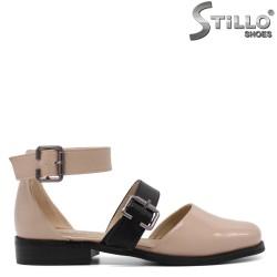 Pantofi dama din lac de culoare bej - 33123