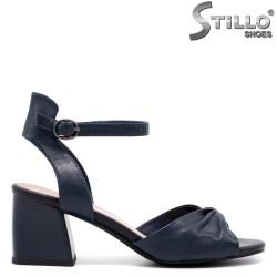 Sandale dama din piele de culoare albastru cu toc  - 33124