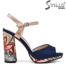Sandale dama cu platforma si toc desen floral - 33127