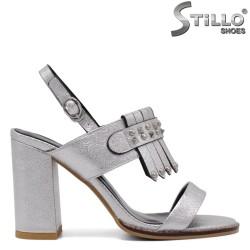 Sandale dama de culoare argintii cu toc gros - 33128
