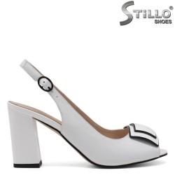 Sandale dama de culoare alb cu partea din fata decupata - 33132