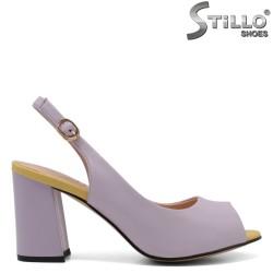 Sandale dama de culoare mov si galben cu toc inalt - 33134