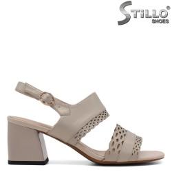 Sandale dama cu toc mijlociu din piele  naturala - 33139