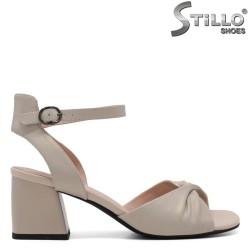 Sandale dama din piele naturala de culoare auriu sidefat - 33147