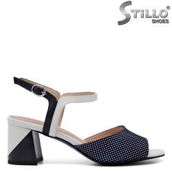 Sandale dama  de culoare albastru cu puncte albe - 33157
