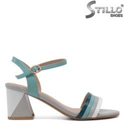 Sandale dama de culoare turcuaz ,alb si gri cu toc mijlociu - 33161