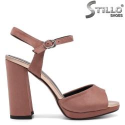 Sandale dama din velur de culoare scrum de trandafiri - 33183