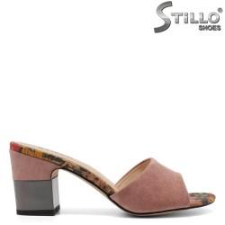 Papuci dama din velur ecologic de culoare roz - 33185