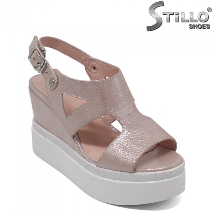 Sandale dama din piele naturala ce culoare roz perlat - 33189