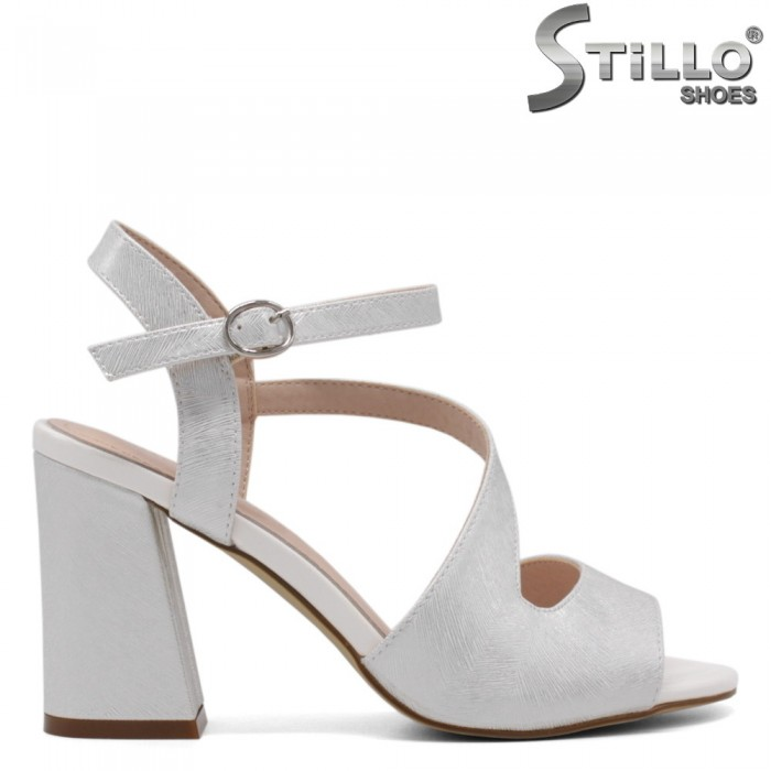 Sandale dama din piele ecologica de culoare argintiu- 33195