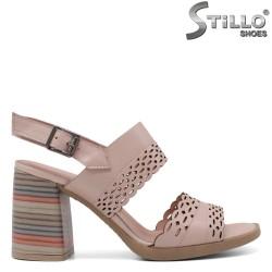 Sandale dama cu toc inalt de culoare pudra - 33209