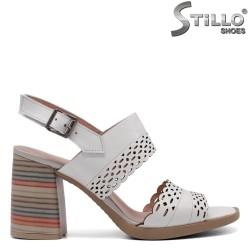 Sandale dama albe din piele naturala cu toc  - 33210
