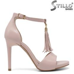 Sandale dama din piele naturala de culoare roz cu ciucure - 33232