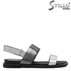 Sandale dama argintii cu curelusa velcro - 33238