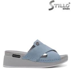 Papuci dama din velur naturala de culoare albastru - 33261