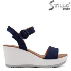 Sandale dama din velur de culoare albastru pe platforma  - 33267