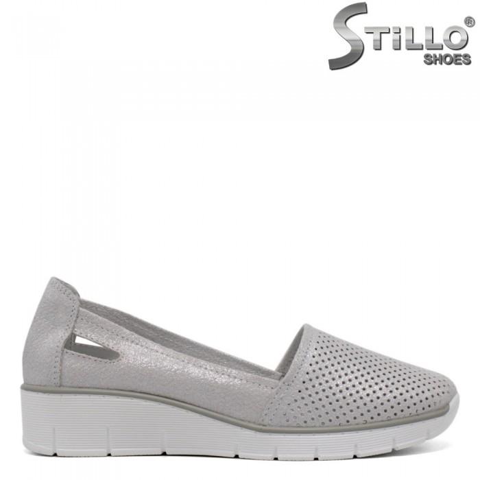 Pantofi dama de culoare argintiu cu perforatie - 33271