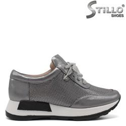 Pantofi dama sport de culoare bronz si cu sireturi - 33275