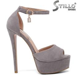 Sandale dama din velur cu platforma si toc inalt - 33278