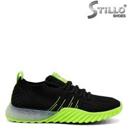 Pantofi dama tip sport de culoare negru si verde - 33281