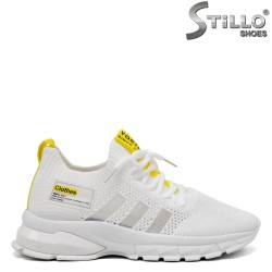 Pantofi dama  tip sport de culoare alb cu galben - 33287