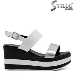 Sandale dama casual cu platforma alba in dungi - 33288